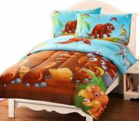 Kids Comforter Set Soft Microfiber in Dinosaur Print 2 pillowcases in Bulk Lot