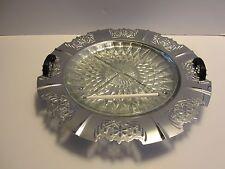 "Art Deco 14 ¾"" Forman Brothers Chrome Brass Tray Bakelite Handles Glass insert"