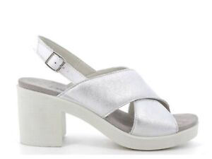 ENVAL SOFT 7285211 Sandals Shoes Heel Leather Woman Laminated Silver