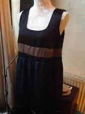 BNWT Size 14(42) Pewter/black/blue Satin Colour Block Dress From Next- Party