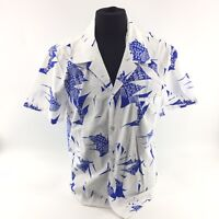 Made In Hawaii Hawaiian Shirt Mens Large Floral Print Blue White Button Down I1a