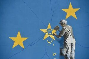 Banksy Brexit Guy Chips At Eu CANVAS WALL ART DECO LARGE READY TO HANG all sizes