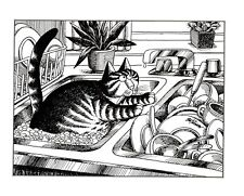 Cat In Sink With Dishes Kliban Cat Print Black White Vintage