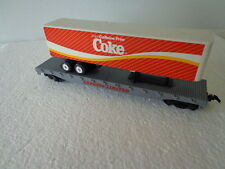 COKE 1/87 HO SCALE COCA COLA EXPRESS LIMITED TRAIN FLAT CAR WITH COKE TRAILER