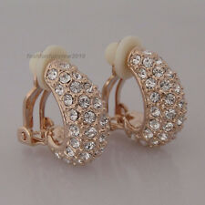18K Rose Gold GP Clear Crystal Moon Style Clip-on Unpierced Ball Earrings IE126A