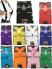 Heavy Duty Mens Ladies BRACES BLACK SUSPENDER ELASTIC 50mm WIDE Durable Trouser