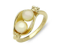 Hawaiian Plumeria & Natural White Pearl Set in 14k SOLID Yellow Gold Ring