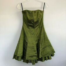 Cache Womens Olive Green Crinkled Satin Strapless Fit & Flare Formal Dress 8