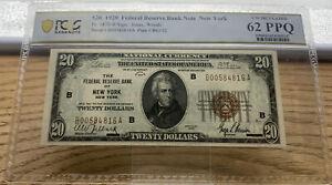 1929 $20 FRBN New York Fr 1870-B Jones   Woods PCGS UNC 62 PPQ S/N B00584816A