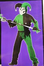 BOYS LRG 10 12 SINISTER EVIL JESTER JOKER HALLOWEEN COSTUME GREEN BLACK