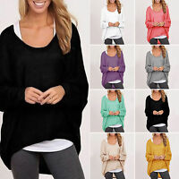 Fashion Casual Women Baggy Plain Tunic Sleeve Top T-Shirt loose Pullover Baggy