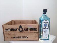 Stile Vintage in legno Bombay Sapphire Crate BOX & in alto lampada bottiglia riciclata REGALO CASA