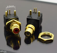 1pair Gold RCA Female Jack Pin PCB Socket Audio Video A/V Socket Connector