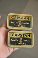 2 Pc Vintage Capstan Navy Cut Medium Tobacco Ad Litho Tin Boxes