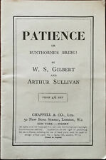 Patience by Gilbert and Sullivan Opera Libretto, Chappell & Co. Early 1900's
