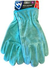West Chester Women's Split Cowhide Leather Driver Gloves Teal Size Large