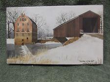 Christmas At Mill Bridge Canvas Home Decor Billy Jacobs Barn Farm House Small