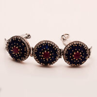 Ceylon Blue Sapphire, Ruby Gemstone Ottoman Handmade Sterling Silver Bracelet AA