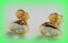 Pendientes de joyería azul de oro amarillo topacio