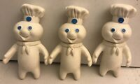 "3pc Vintage 1971 Pillsbury Doughboy Swivel Head 7"" Doll Lot"