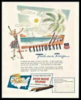 1947 UNION PACIFIC RAILROAD Train Travel to California Vintage Print AD