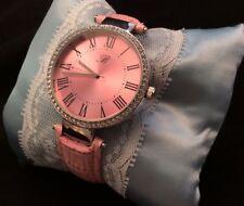 Ladies Large Pink Rhinestone Analog Watch Signed B Leather Band