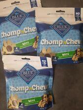 3 x Blue Buffalo Chomp 'N Chew Mini Long Lasting Chews Treats For Dogs 4 ct each