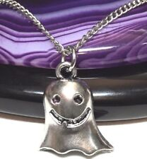 """GHOST_Small Pendant on 18"""" Chain Necklace_Spirit Haunting Paranormal Silver_79N"""