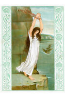 Andromeda Awaits the Kraken Art Nouveau Illustration Art Print Poster 12x18 inch