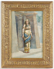 "Mariano De Franceschi (1849-1896) ""Pharaon's wife"", orientalist watercolor"
