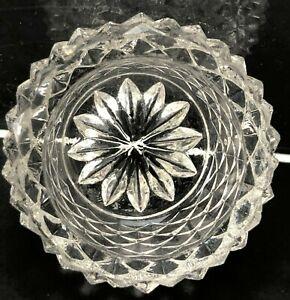 VTG Antique Salt Cellar Open Salt Dish Pressed Pattern Glass Diamond Point Tiny