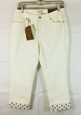 P14 Womens Coldwater Creek Cuffed Cropped Jeans! Sz 8 Natrural Fit