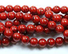 25 Czech Pressed Glass Round Druk Beads Garnet Opaque 8mm