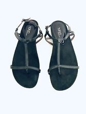 TARYN ROSE BLACK Suede PATENT LEATHER SANDALS WOMEN'S size US 9