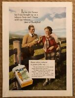 RARE Vintage 1934 color CHESTERFIELD CIGARETTES AD I'm No Dirt Farmer FRAME IT