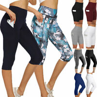 Womens Capri Yoga Pants High Waist Cropped Leggings Gym Fitness Pockets Running
