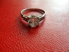 Vintage 925 Silver & Cubic Zirconia Solitaire Dress Ring 19 1/2mm 1carat plus