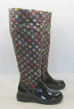 DE BLOSSOM COLLECTION Black COLORFUL dot snow knee boot  SMALL FUR INSIDE Size 7