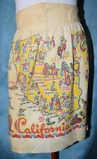 Vintage Mid Century CALIFORNIA Linen TEA TOWEL Souvenir made into APRON