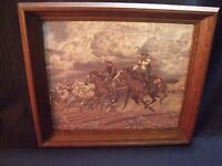 """CLASSIC VINTAGE FRAMED 13"""" BY 16"""" COWBOYS DRIVING CATTLE IN THUNDERSTORM PRINT"""
