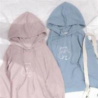 New Japanese Sweet Lolita Preppy Style Cute Cartoon Hoodie Long Sleeve Coat Tops