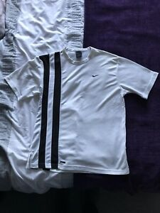 Nike Dri Fit Tennis Andre Agassi On Court Crew Australian Open 2003 White Small