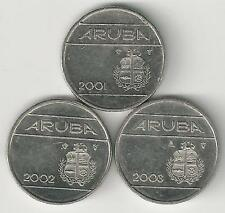 3 DIFFERENT 10 CENT COINS from ARUBA (2001, 2002 & 2003)