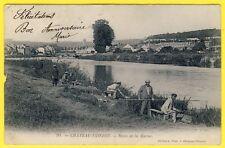 cpa Dos 1900 CHÂTEAU THIERRY (Aisne) PÊCHEURS sur les RIVES de la MARNE
