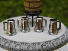 Miniature Dollhouse FAIRY GARDEN Accessories ~ Set /4 Metal Beer Wine Mugs ~ NEW