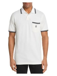 PSYCHO BUNNY Mens Beige Logo Graphic Short Sleeve Classic Fit Polo L
