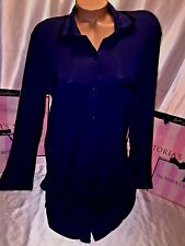 Victorias Secret Nightie Sleepshirt Blue W/Black Trim Modal Small