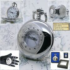 Pocket Watch Silver Polish Hollow Men Big 47 MM with Fob chain & Gift Box P136