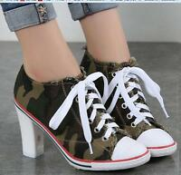 Women's Denim Pointed Toe Lace Up High Heel Ankle Boots Pumps Shoes Letters