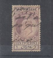 Cyprus KEVII 1903 1 pi Lilac Revenue FU J5697